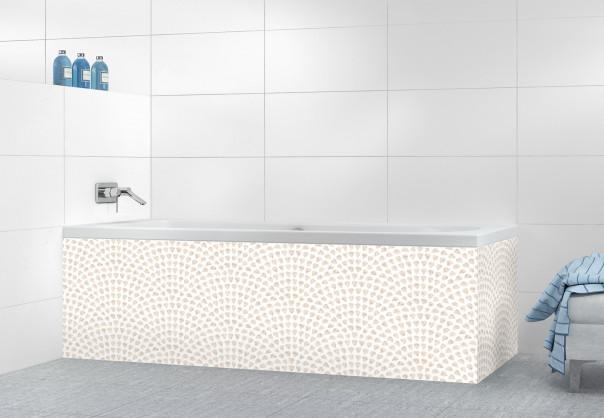 Panneau tablier de bain Mosaïque petits cœurs couleur magnolia