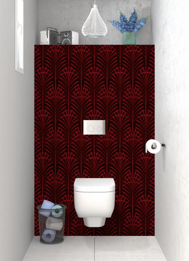 Panneau WC Feuilles de paume couleur rouge carmin