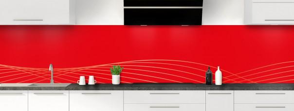Crédence de cuisine Courbes couleur rouge vif panoramique motif inversé