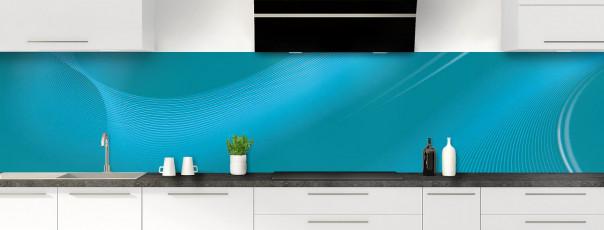 Crédence de cuisine Volute couleur bleu canard panoramique