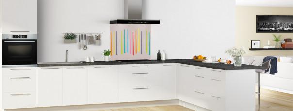 Crédence de cuisine Barres colorées couleur argile fond de hotte en perspective