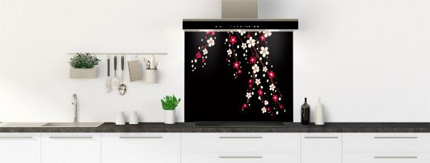 Crédence de cuisine Arbre fleuri couleur noir fond de hotte