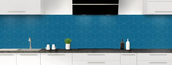 Crédence de cuisine Cubes en relief couleur bleu baltic panoramique
