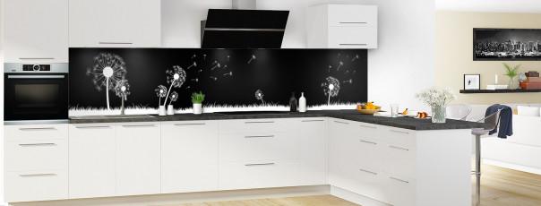 Crédence de cuisine Pissenlit au vent couleur noir panoramique en perspective