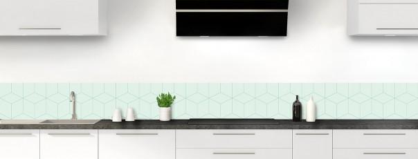 Crédence de cuisine Cubes en relief couleur vert eau dosseret