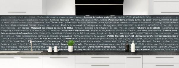 Crédence de cuisine Recettes de cuisine couleur gris carbone panoramique