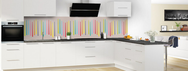 Crédence de cuisine Barres colorées couleur argile panoramique en perspective