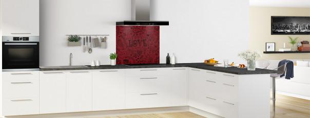 Crédence de cuisine Love illustration couleur rouge pourpre fond de hotte en perspective