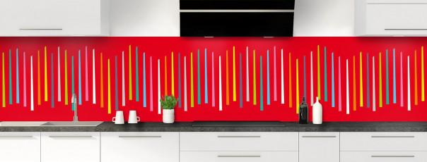 Crédence de cuisine Barres colorées couleur rouge vif panoramique