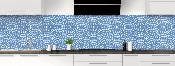 Crédence de cuisine Mosaïque cercles couleur bleu lavande panoramique