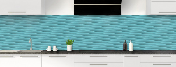 Crédence de cuisine Ondes couleur bleu lagon panoramique