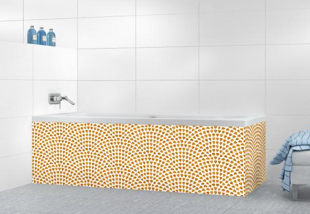 Panneau tablier de bain Mosaïque petits cœurs couleur abricot