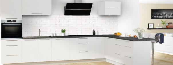 Crédence de cuisine Mur briques blanches panoramique en perspective