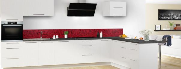 Crédence de cuisine Love illustration couleur rouge carmin dosseret en perspective