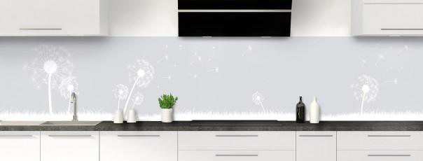 Crédence de cuisine Pissenlit au vent couleur gris clair panoramique