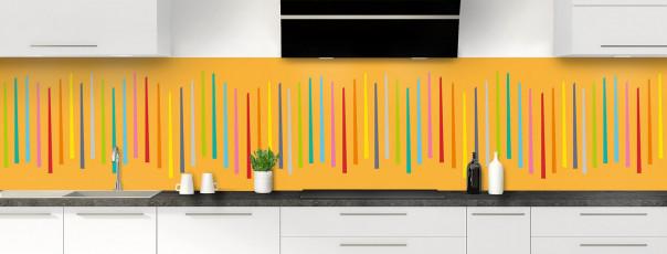 Crédence de cuisine Barres colorées couleur abricot panoramique