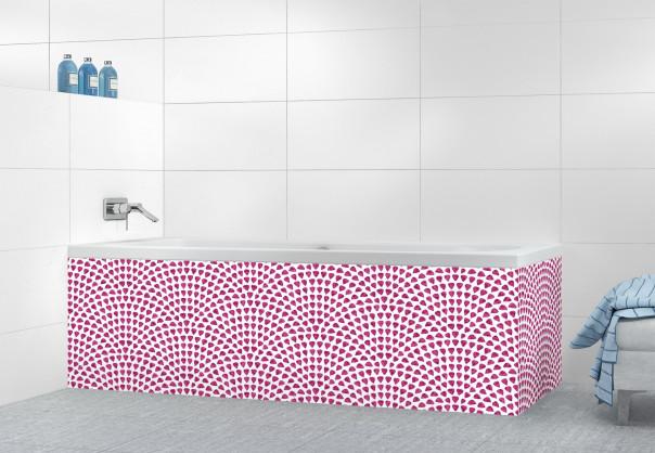 Panneau tablier de bain Mosaïque petits cœurs couleur prune