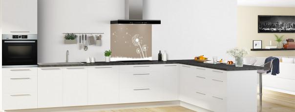 Crédence de cuisine Pissenlit au vent couleur marron glacé fond de hotte motif inversé en perspective