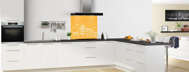 Crédence de cuisine Dessin de ville couleur abricot fond de hotte en perspective