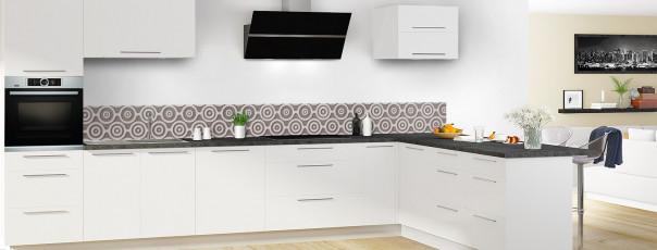 Crédence de cuisine Papier peint rétro couleur taupe dosseret en perspective