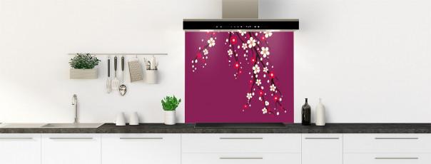 Crédence de cuisine Arbre fleuri couleur prune fond de hotte