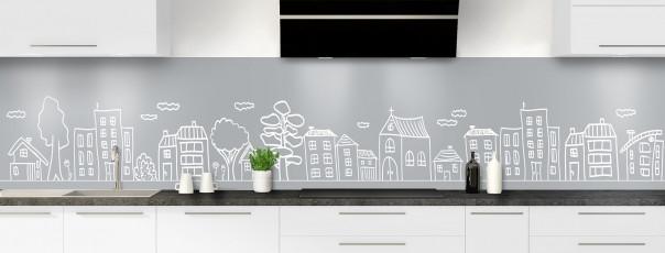 Crédence de cuisine Dessin de ville couleur gris métal panoramique