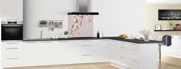 Crédence de cuisine Arbre fleuri couleur argile fond de hotte motif inversé en perspective
