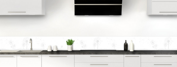 Crédence de cuisine Pissenlit au vent couleur blanc dosseret motif inversé