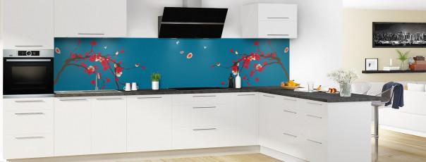 Crédence de cuisine Cerisier japonnais couleur bleu baltic panoramique motif inversé en perspective