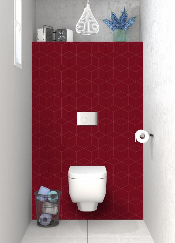 Panneau WC Cubes en relief couleur rouge pourpre