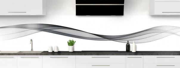 Crédence de cuisine Vague graphique couleur gris carbone panoramique