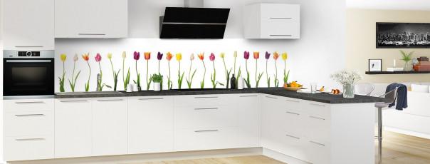 Crédence de cuisine Tulipes panoramique en perspective