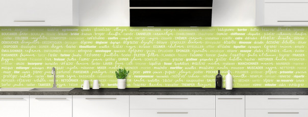 Crédence de cuisine Etapes de recette couleur vert olive panoramique