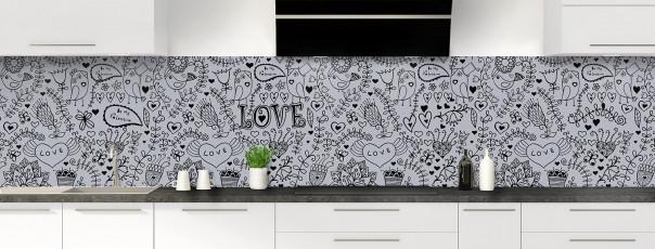 Crédence de cuisine Love illustration couleur gris métal panoramique