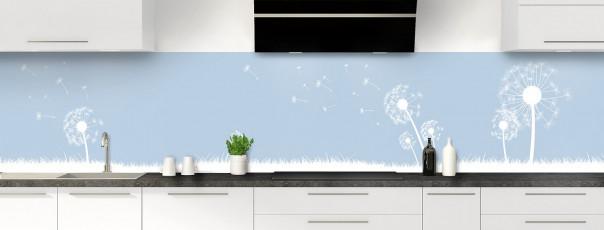 Crédence de cuisine Pissenlit au vent couleur bleu azur panoramique motif inversé