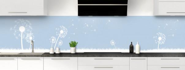 Crédence de cuisine Pissenlit au vent couleur bleu azur panoramique
