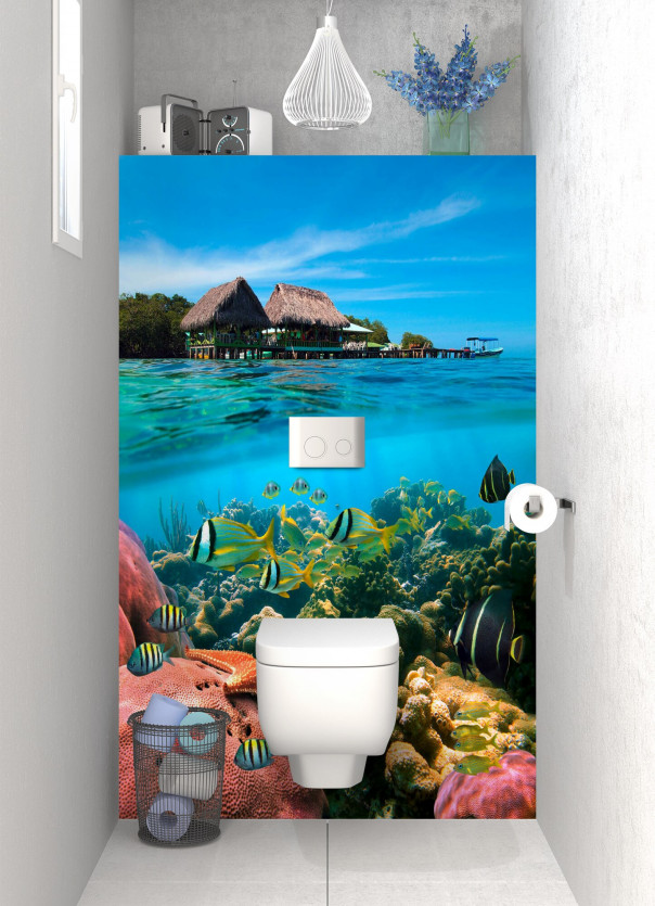 Panneau WC Corail et poissons exotiques