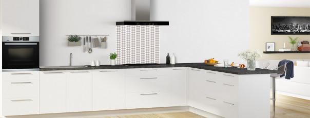 Crédence de cuisine Petites Feuilles Blanc couleur argile fond de hotte en perspective