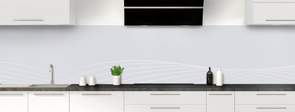 Crédence de cuisine Courbes couleur gris clair panoramique