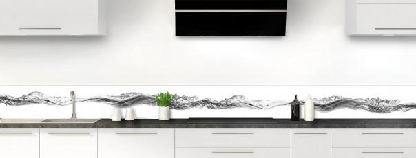 Crédence de cuisine Water Splash Noir dosseret