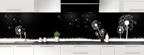 Crédence de cuisine Pissenlit au vent couleur noir panoramique motif inversé