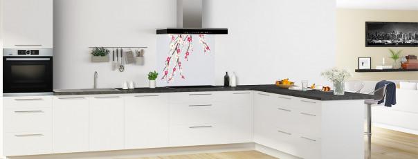 Crédence de cuisine Arbre fleuri couleur gris clair fond de hotte motif inversé en perspective