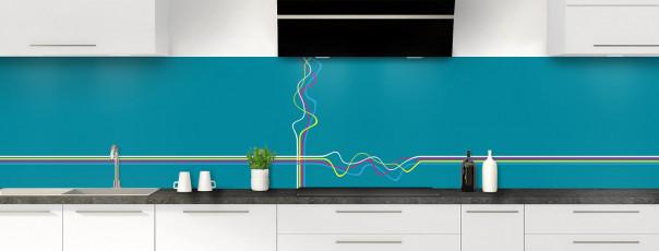 Crédence de cuisine Light painting couleur bleu canard panoramique