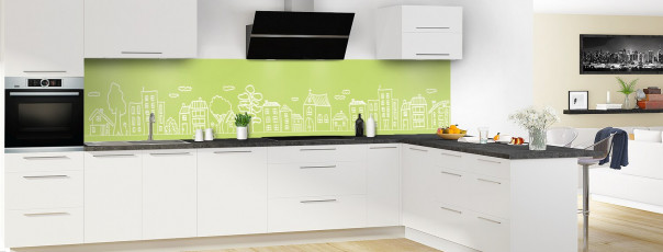 Crédence de cuisine Dessin de ville couleur vert olive panoramique en perspective