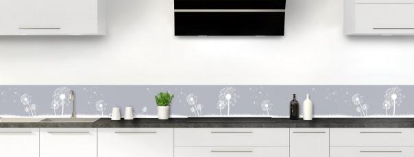 Crédence de cuisine Pissenlit au vent couleur gris métal dosseret motif inversé