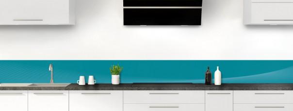 Crédence de cuisine Ombre et lumière couleur bleu canard dosseret motif inversé