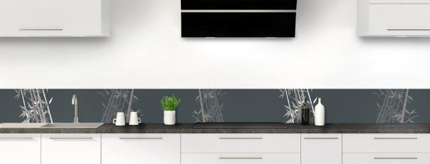 Crédence de cuisine Bambou zen couleur gris carbone dosseret motif inversé