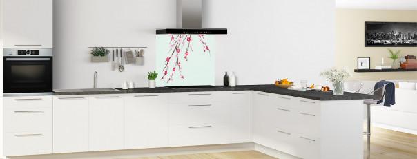 Crédence de cuisine Arbre fleuri couleur vert eau fond de hotte motif inversé en perspective