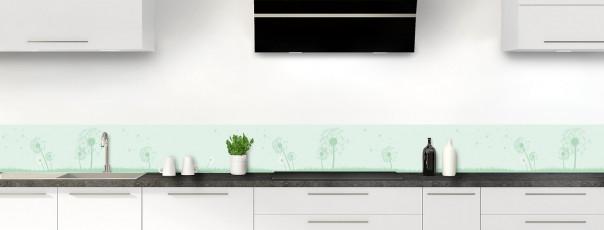 Crédence de cuisine Pissenlit au vent couleur vert eau dosseret motif inversé