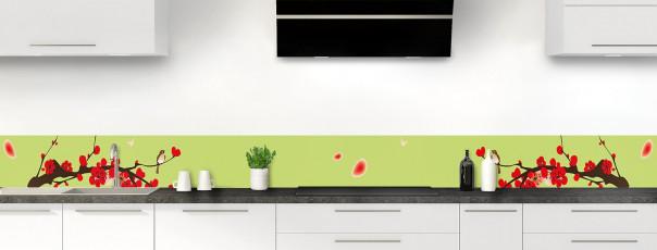 Crédence de cuisine Cerisier japonnais couleur vert olive dosseret motif inversé